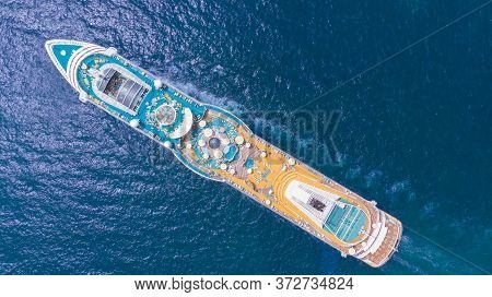 Aerial View Of Beautiful White Cruise Ship Above Luxury Cruise In The Ocean Sea  Concept Tourism Tra