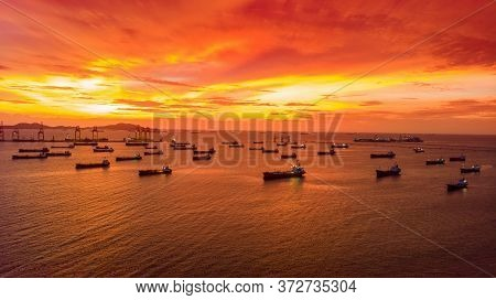 Aerial View Of  Alot Of Gas Ship Lpg Ship At Sunset Hot Sky.