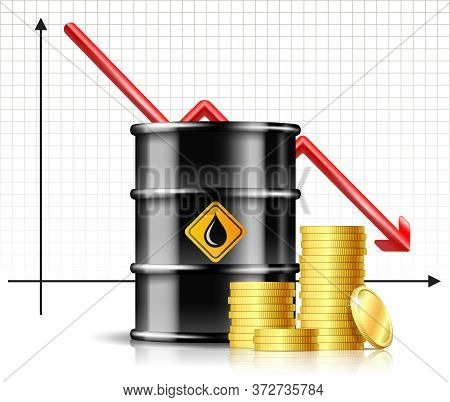 Oil Barrel Price Falls Down Chart And Black Oil Barrel With Stack Of Gold Coins