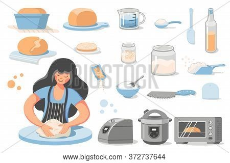 Preparation Of Homemade Bread. A Young Woman Kneads Dough. Set Of Icons - Ready-made Baking, Ingredi
