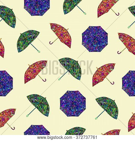 Seamless Pattern With Colored Umbrellas Painted In Zentangle Style. Vector.