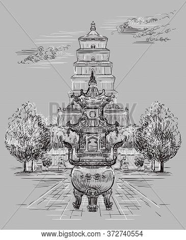 Big Wild Goose Pagoda In Southern Xi'an, Shaanxi Province, Landmark Of China. Hand Drawn Vector Sket