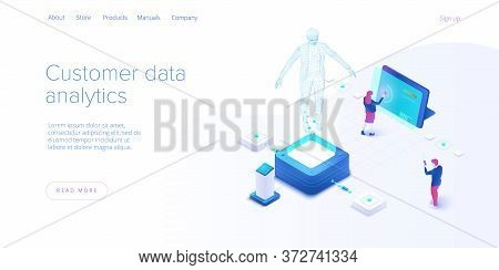 Customer Data Monitoring Concept In Isometric Vector Design. Online Internet Marketing Or Business A
