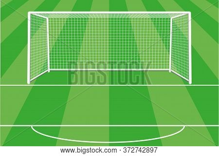 Soccer Goal With Shadow, Net And Field Marking. Gate For The Football Field. Football. Located On Th