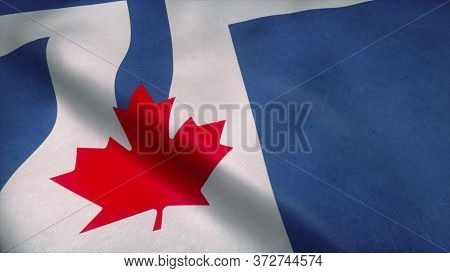 Flag Of Toronto Waving In Wind. Realistic Toronto Flag Background. 3d Rendering