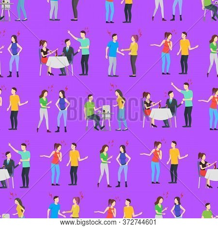 Cartoon Characters People Different Conflict Seamless Pattern Background Anger, Quarrel, Unhappy, Pr