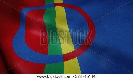 Flag Of Sami Scandinavia Waving In Wind. Realistic Flag Background. 3d Rendering
