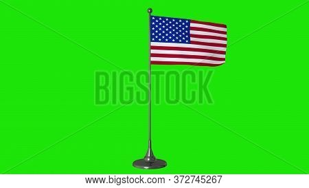 Usa Small Flag Fluttering On A Flagpole. Green Screen Background. 3d Rendering