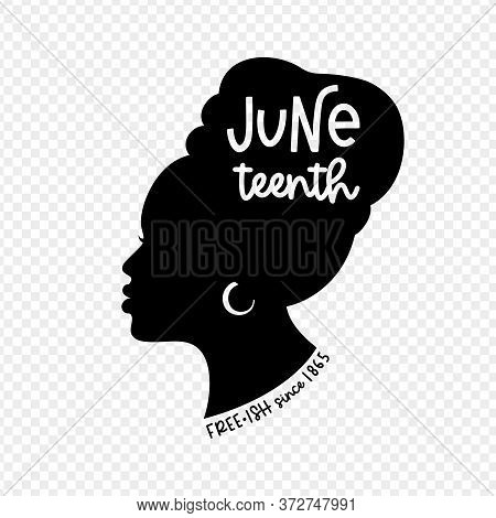 Black Woman Profile Silhouette With A Traditional Head Wrap And Ring Earring For Juneteenth Holiday.