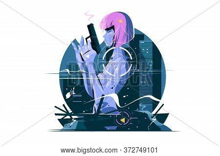 Killer Woman With Gun Vector Illustration. Spy