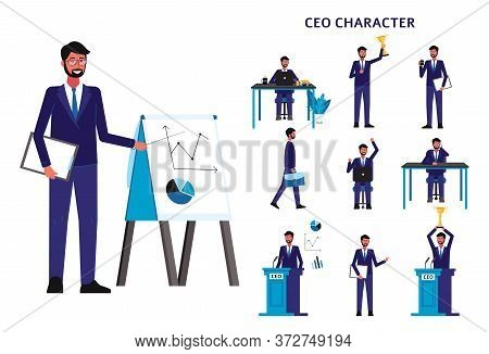Cartoon Ceo Businessman Set - Isolated Man In Business Suit In Different Poses