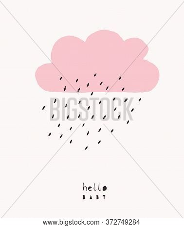 Cute Baby Shower Vector Illustration With Pink Rainy Cloud Isolated On An Off-white Background. Simp