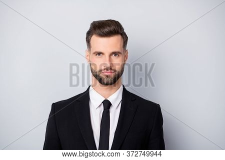Close Up Photo Of Confident Cool Marketer Worker Man Good Look In Camera Real Entrepreneur Wear Form