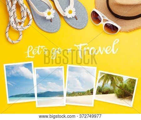 Let's go travel concept card. Summer vacation items, accessories and holiday photos. Flip flops, sunglasses and sun hat on yellow background. Top view flat lay