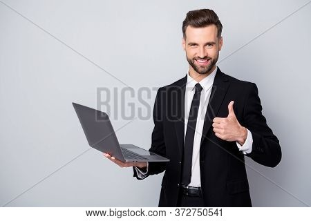 Portrait Of Confident Brunette Hair Man Ceo Worker Approve His Work Show Thumb Up Hold Computer Wear