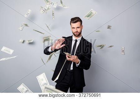 Portrait Of Cool Stunning Rich Wealthy Manager Entrepreneur Company Owner Waste Money Dollars Deposi