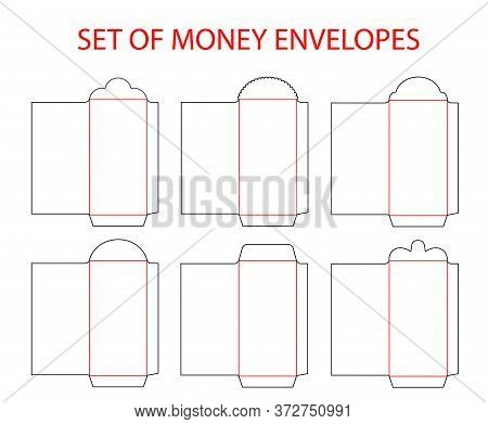 Money Envelopes Template Set Die Cut. Red Money Envelope. Vector Template For Red Packet - Ang Pau.
