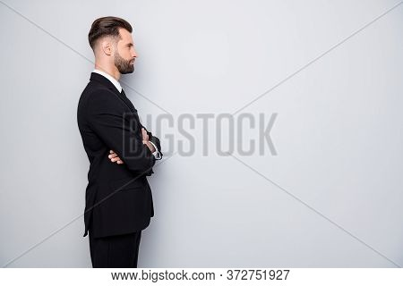 Profile Side Photo Of Serious Charming Expert Worker Man Look Copyspace Cross Hands Ready Decide Big