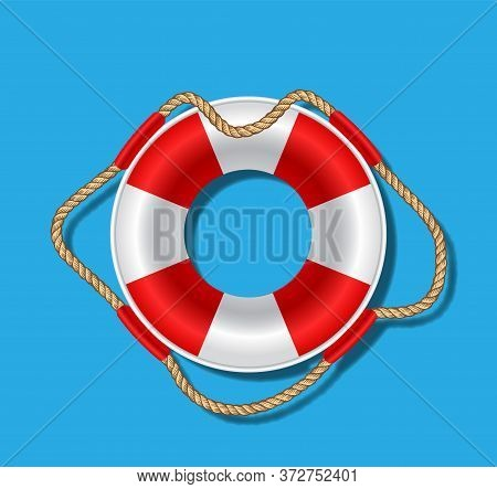 Rescue Circle With Ropes On A Blue Background With A Shadow