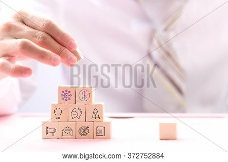 Businessman Hand Arranging Wood Cube Stacking As Step Stair. Business Concept Growth Success Process