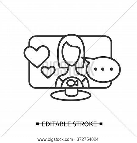 Online Dating Icon. Woman Avatar In Video Call With Love Sign, Talking. Concept Line Pictogram For D
