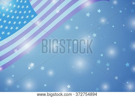 Usa Independence Day Card With American Flag, Stars And Flares. Background For Congratulations.