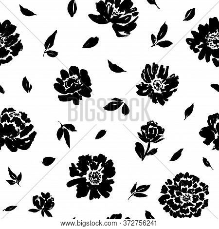 Seamless Floral Vector Pattern With Peonies, Roses, Anemones. Hand Drawn Black Paint Illustration Wi