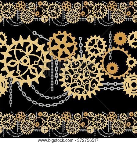Openwork Gears, Cogwheels And Chains On A Black Background. Seamless Horizontal Border For Packaging