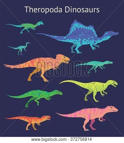 Set Of Theropoda Dinosaurs. Colorful Vector Illustration Of Dinosaurs Isolated On Blue Background. S