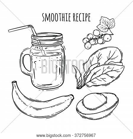 Smoothie Recipe Healthy Eating Nutrition Beverage Paleo Keto Organic Diet Nature Vector Illustration