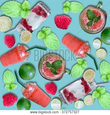 Background Of Homemade Refreshing Fruit Beverage. Varied Fresh Beverage In Glasses. Refreshing Lemon