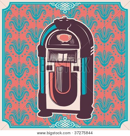 Vintage illustration with jukebox. Vector illustration.