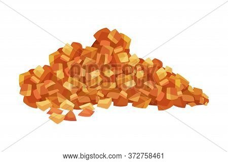 Pile Of Brown Sugar Crystals As Sweetener For Tea And Coffee Vector Illustration