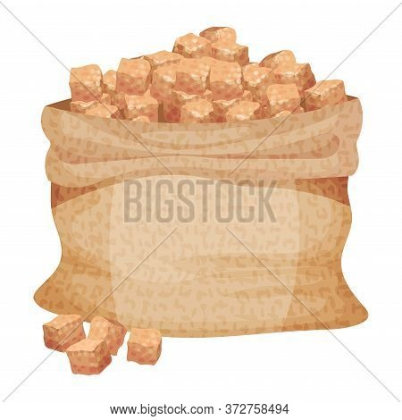 Pile Of Brown Sugar Cubes In Sack As Sweetener For Tea And Coffee Vector Illustration