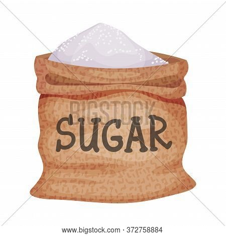 Sack Of Refined Sugar As Sweetener For Food And Drink Vector Illustration