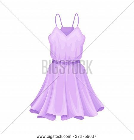 Light Textile Summer Dress With Thin Shoulder Straps And Flared Dress Border Vector Illustration