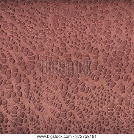 Texture Of Coral Openwork Fabric. Detailed Shot Of A Beautiful Fabric. Multitask Background. View Fr