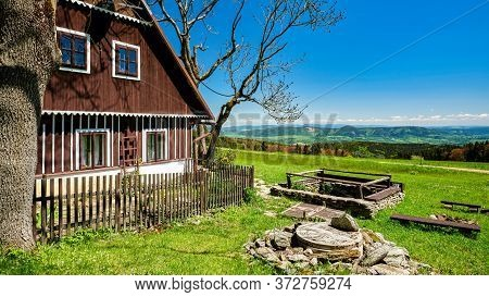 Idyllic Mountain Hut On A Meadow With Beautiful View Into The Valley, Krkonose Mountains, Czech Repu