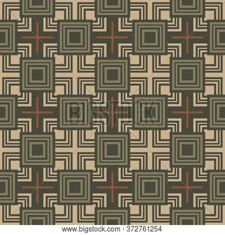Retro Vintage Chinese Traditional Pattern Seamless Background Geometry Square Cross Kaleidoscope