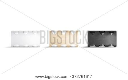 Blank Black, White And Craft Beer Can Cardboard Pack Mockup, 3d Rendering. Empty Paperboard Carry Bo