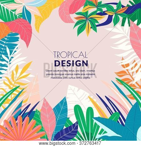 Summer Tropical Abstract Background. Vector Flat Cartoon Illustration. Hand Drawn Doodle Palm Leaves