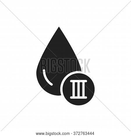 3 Blood Group Black Glyph Icon. Donation, Charity Concept. Blood Banking Transfusion. Pictogram For