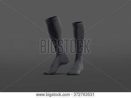 Blank Black Pair Soccer Socks Toe Mockup, Dark Background, 3d Rendering. Empty Fabric Stockings Or S