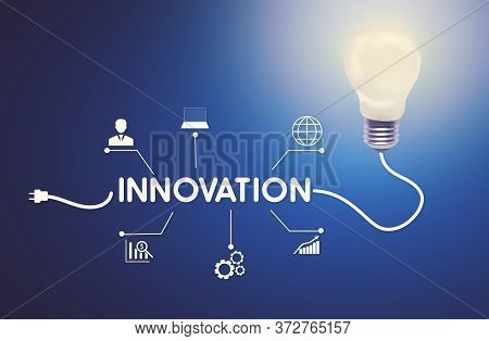 Innovations For Business. Glowing Light Bulb With Word Innovation On Wire And Business Strategy Icon