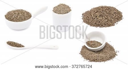 Cumin Caraway Set Isolated On White Background