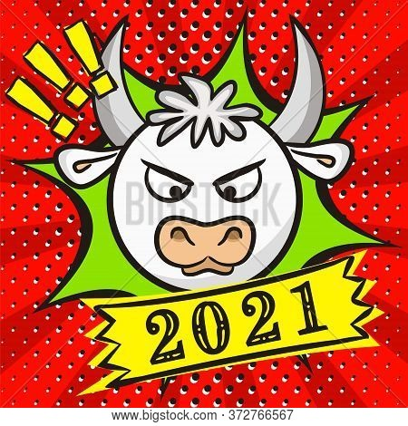 White Bull Symbol Of 2021. Bright Red New Year Banner In Pop Art Style. 2021 Calendar Heading. Vecto