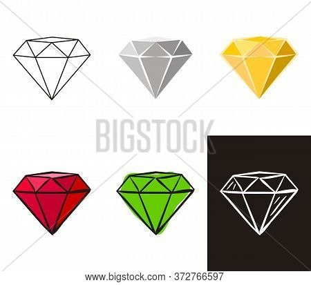 A Collection Of Crystals In Different Styles: Doodle, Contour, Chalk. Sets Of Hand-drawn Gems, Diamo