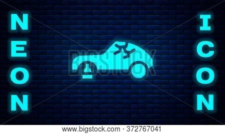 Glowing Neon Broken Car Icon Isolated On Brick Wall Background. Car Crush. Vector Illustration