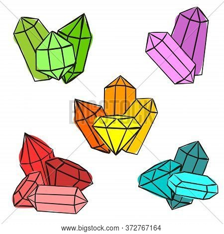 Compositions Of Bright Crystals. Sets Of Hand-drawn Gems, Diamonds, Emeralds And Rubies. Vector Illu