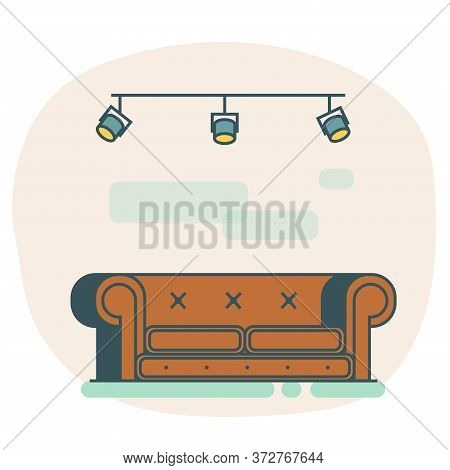 Flat Sofa Isolated Icon. Icon Leather Loft Sofa With Metal Lamps On The Ceiling. Flat Vector Brown S